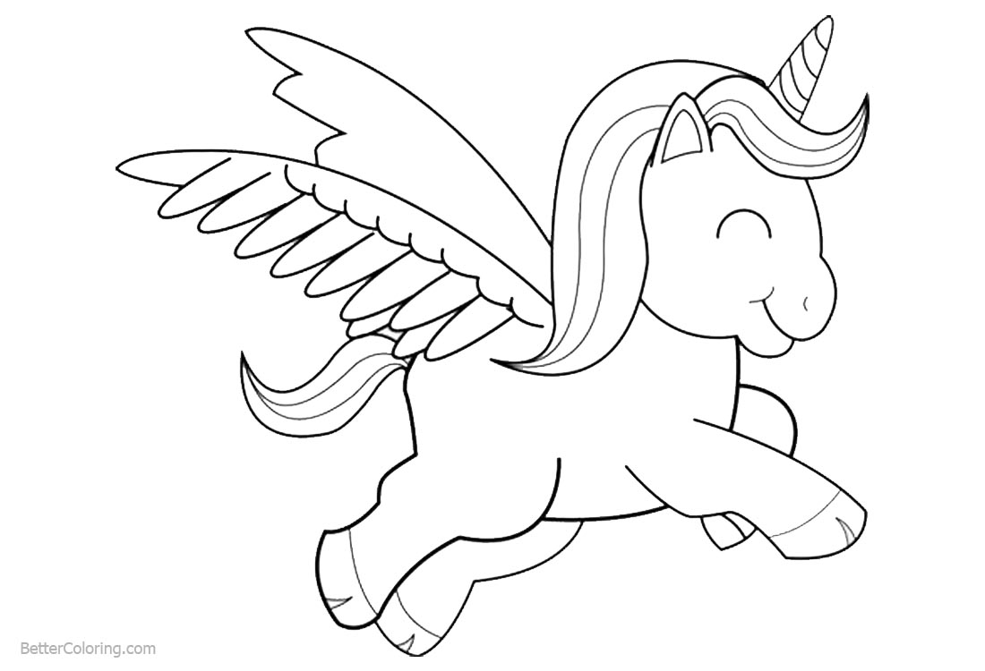 Cartoon Chibi Unicorn Coloring Pages Lineart Free Printable