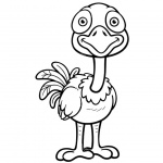 Cartoon Ostrich Coloring Pages