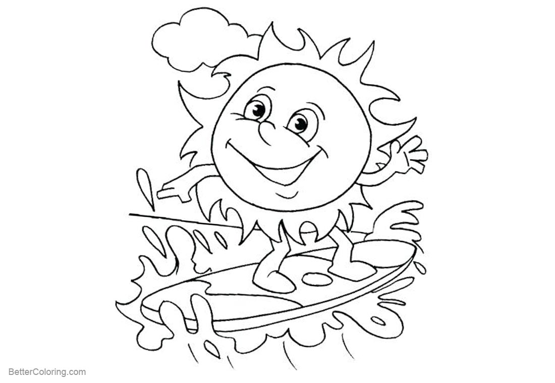 Cartoon Surfboard Coloring Pages - Free Printable Coloring Pages