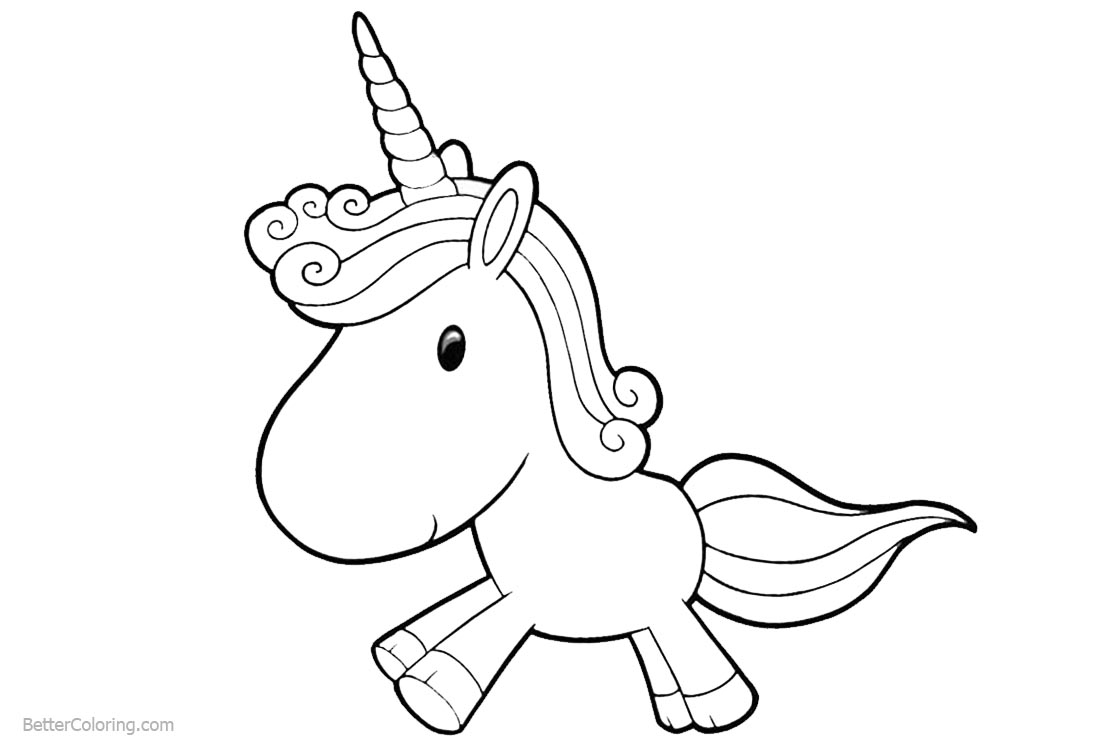 Cartoon Unicorn Coloring Pages Chibi printable for free