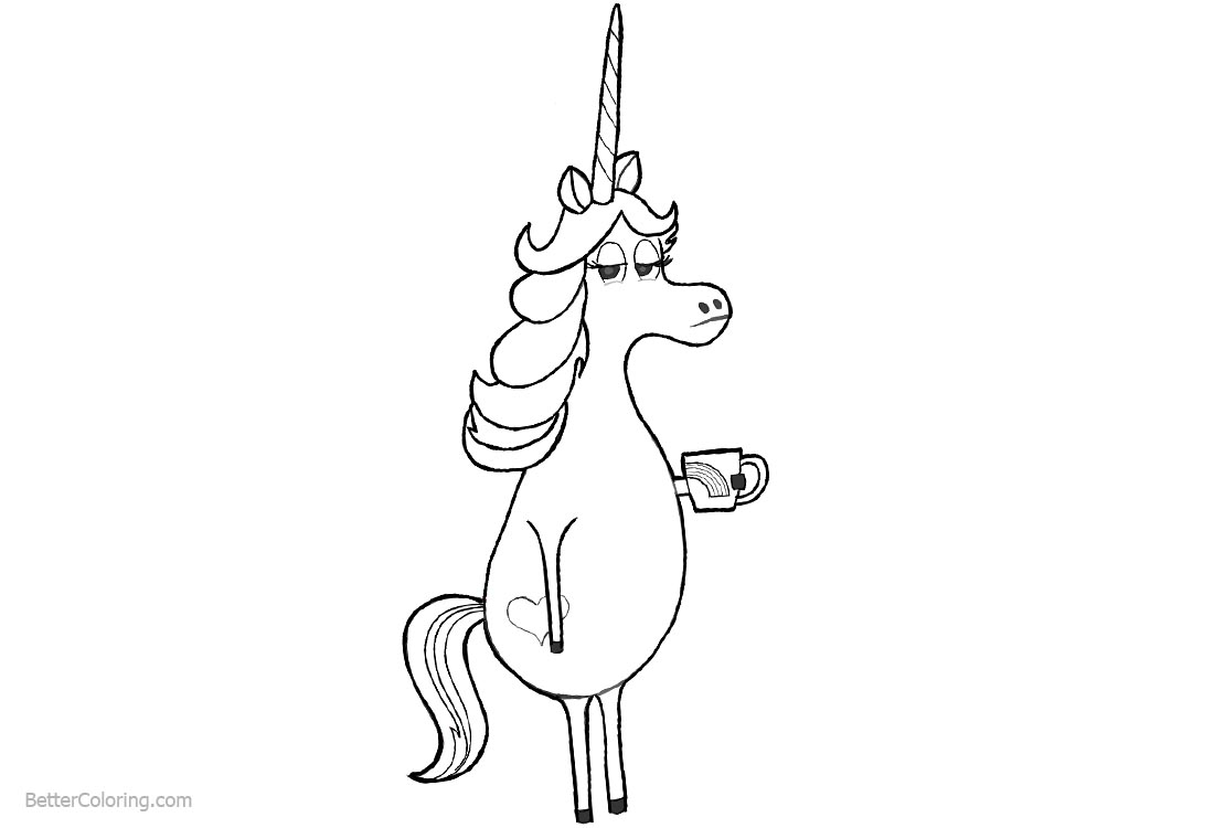 Cartoon Unicorn Coloring Pages with Coffee printable for free