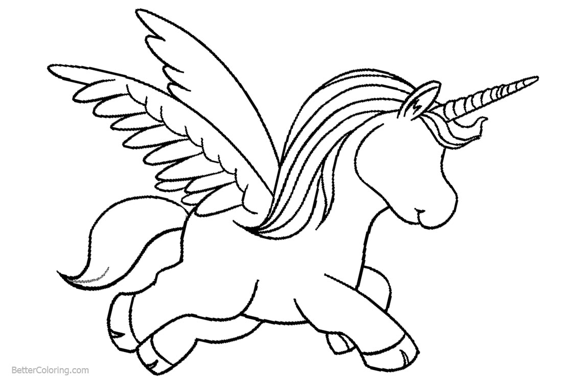 Cartoon Unicorn Coloring Pages with Wings printable for free