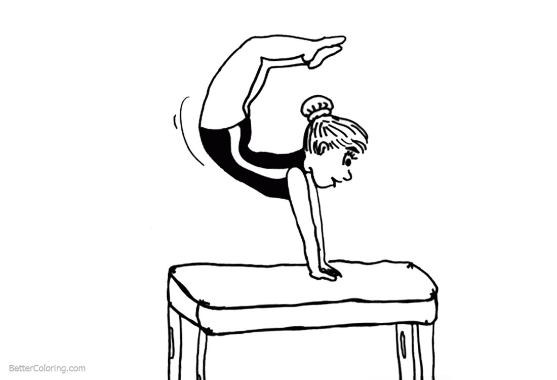 Cartoon Woman Gymnastics Coloring Pages Pommel Horse printable for free