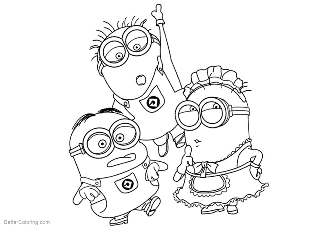 Characters from Despicable Me Minion Coloring Pages printable for free