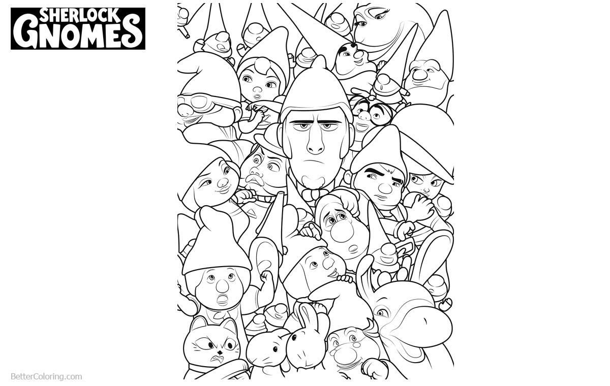 Characters from Sherlock Gnomes Coloring Pages printable for free