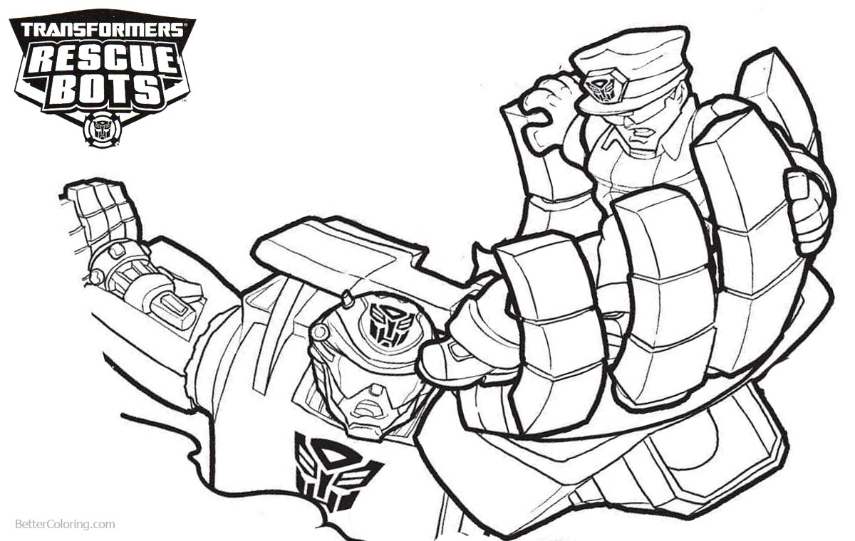 Chase from Transformers Rescue Bots Coloring Pages printable for free