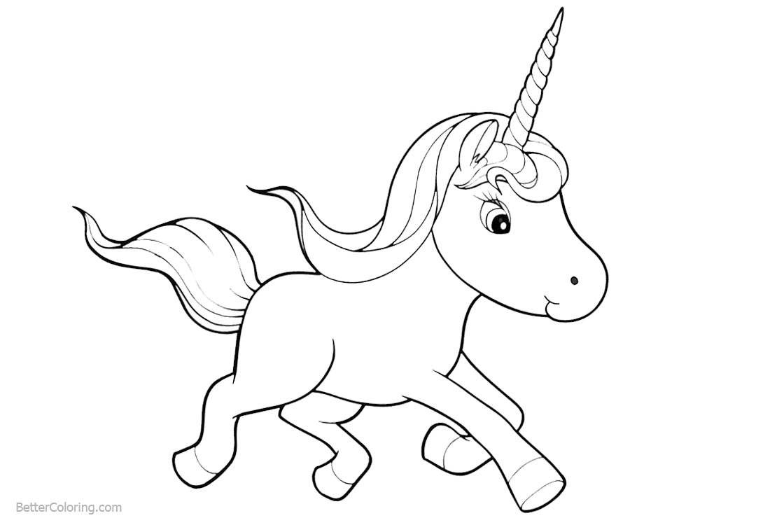Chibi Cartoon Unicorn Coloring Pages printable for free