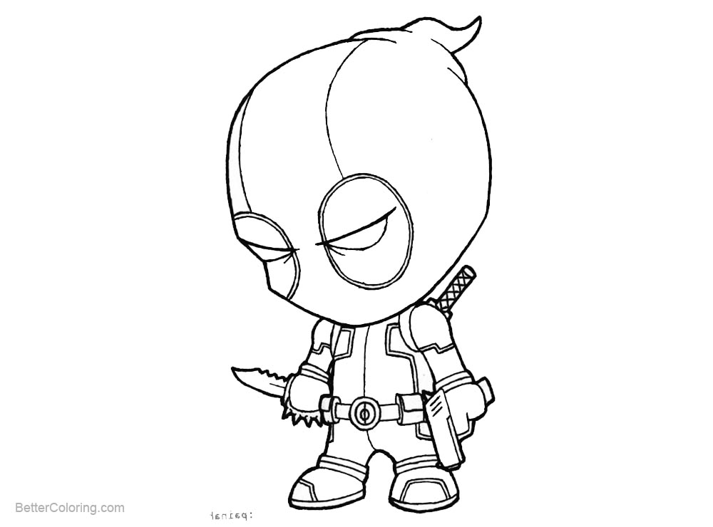 Deadpool Marvel 16 Coloring Pages Printable: Chibi Deadpool Coloring Pages With Knife And Gun