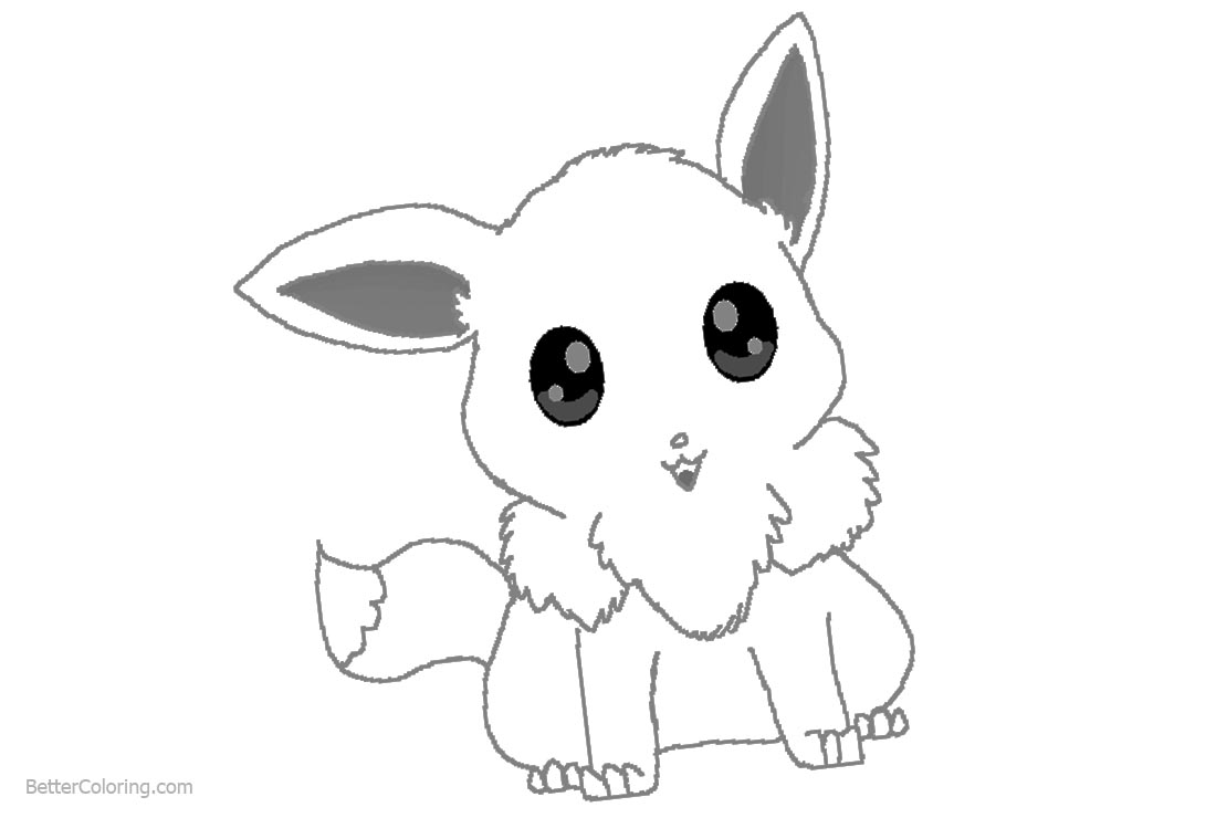 Chibi Eevee Coloring Pages by drackmon printable for free