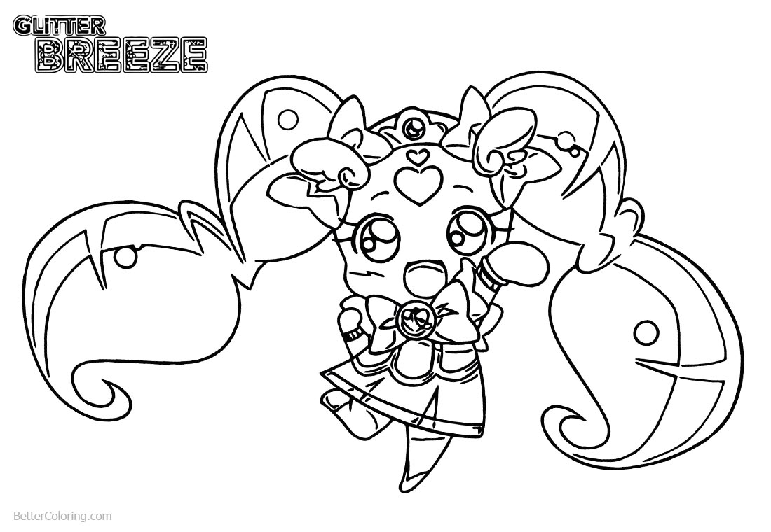 Chibi Glitter Force Coloring Pages printable for free