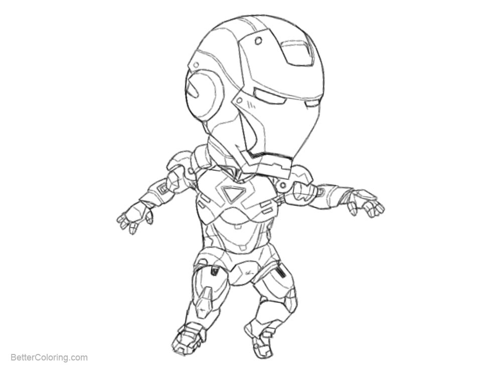 Free Chibi Iron Man Coloring Pages MINI MK VI by b-danerous printable