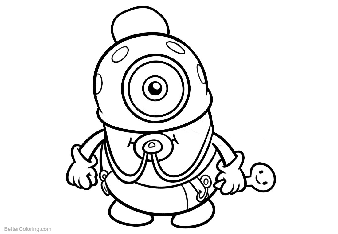 Chibi Minion Coloring Pages Line Drawing printable for free