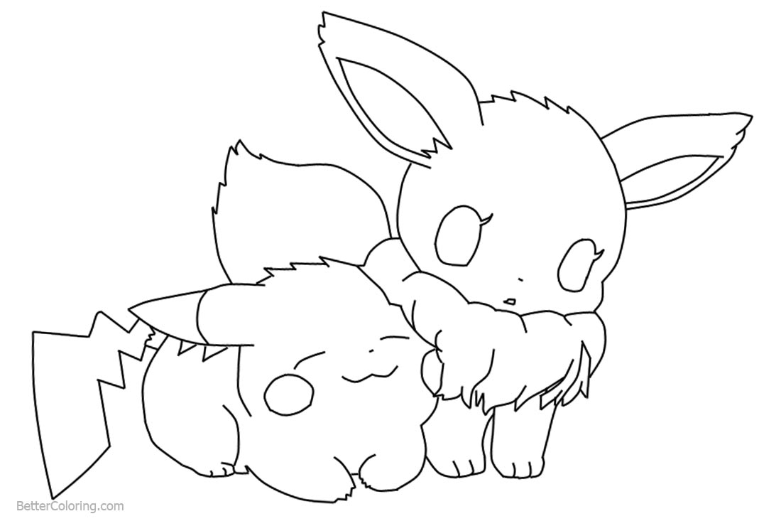 Chibi Pikachu And Eevee Coloring Pages By Deathdaredevil