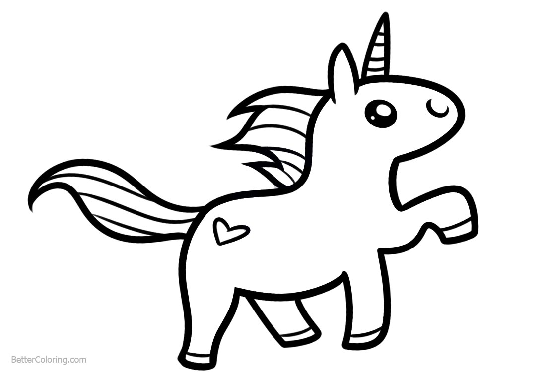 Chibi Unicorn Coloring Pages Easy