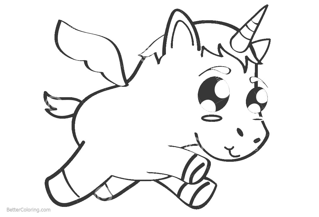 Chibi Unicorn Coloring Pages printable for free
