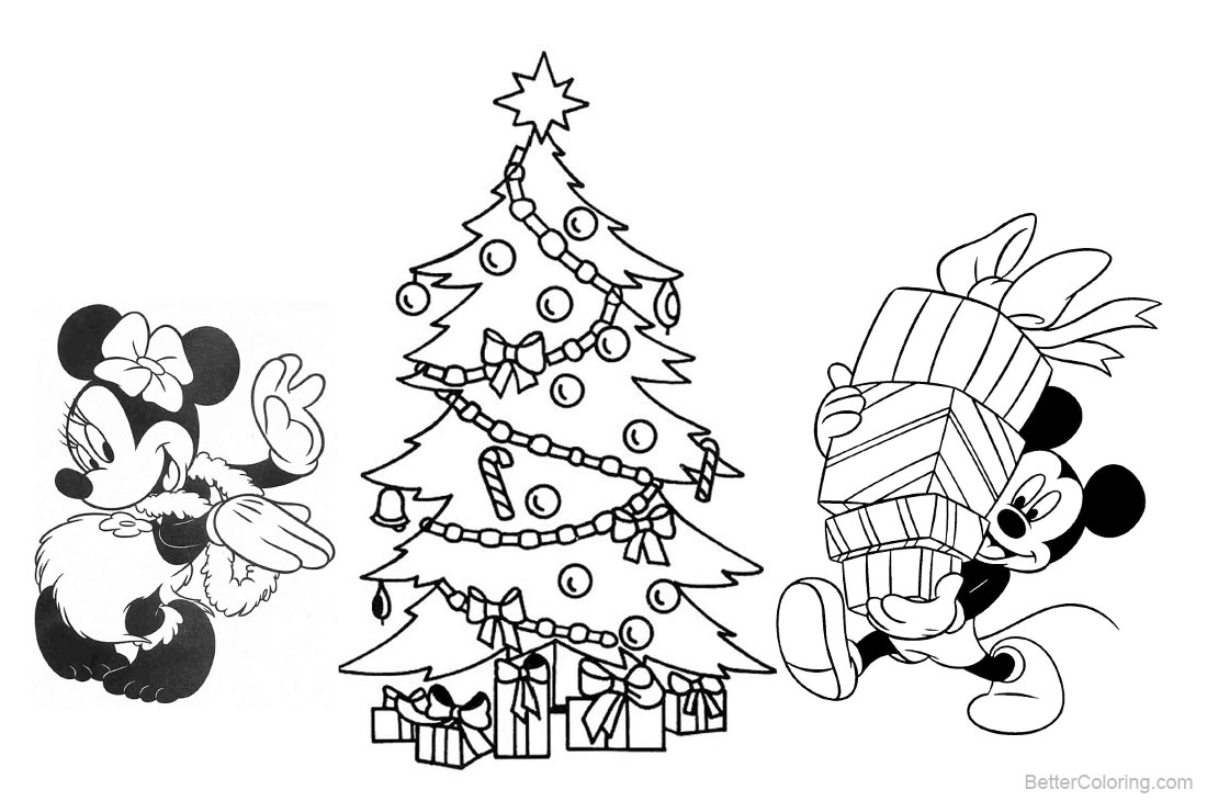 Christmas Disney Coloring Pages Mickey Mouse and Christmas Tree ...