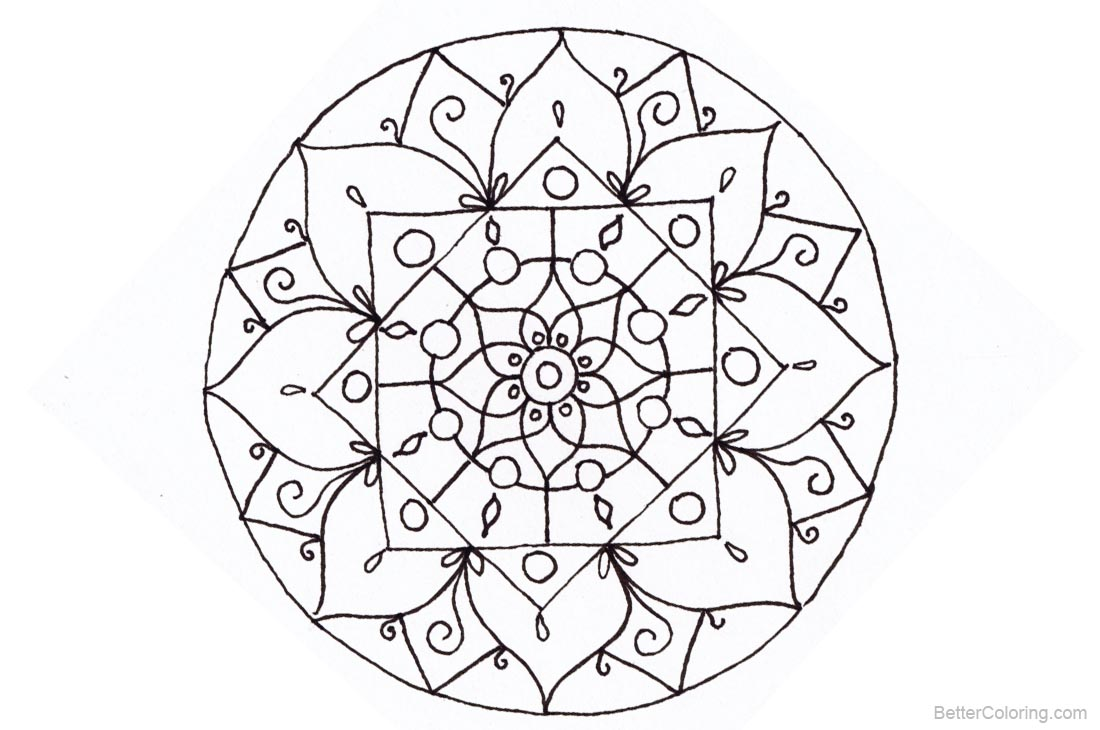 Christmas Mandala Coloring Pages Lineart printable for free