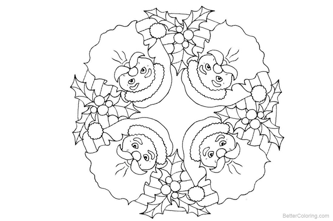 Christmas Mandala Coloring Pages Santa Pattern - Free ...