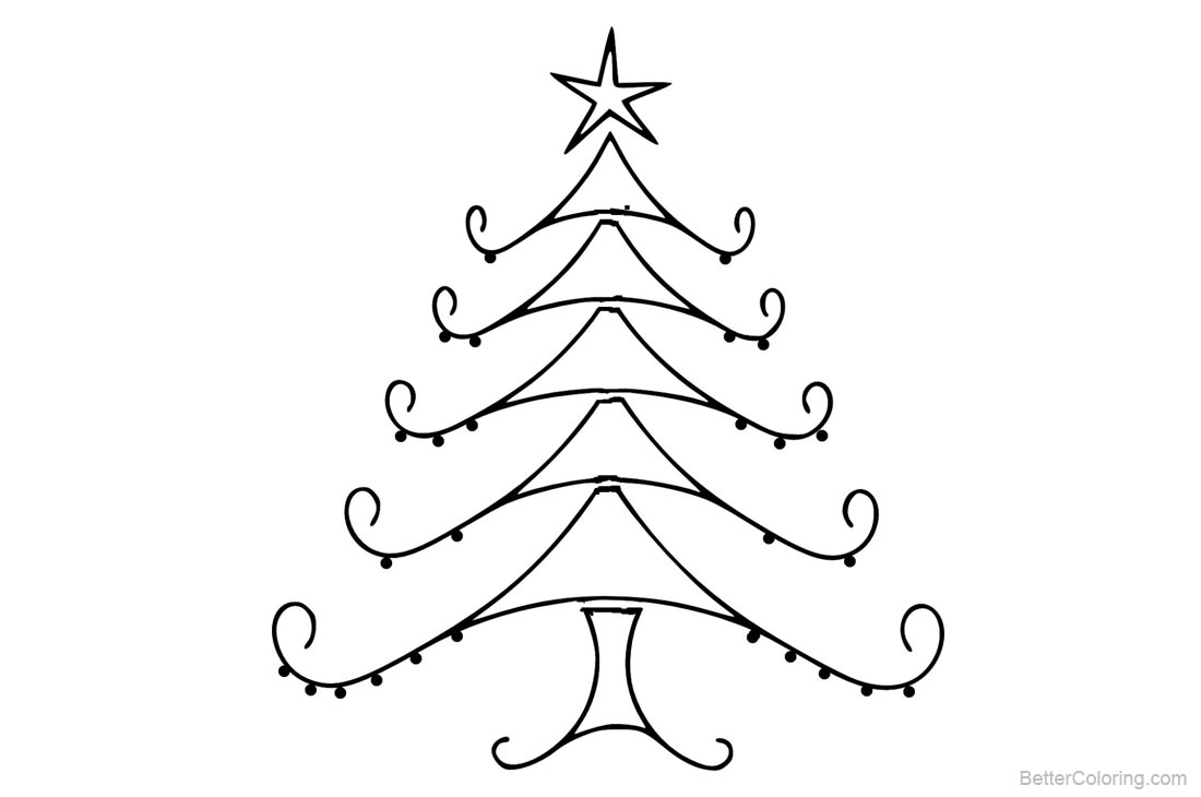 Christmas Tree Coloring Pages Line Art - Free Printable Coloring Pages