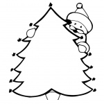 Christmas Tree Coloring Pages with Santa