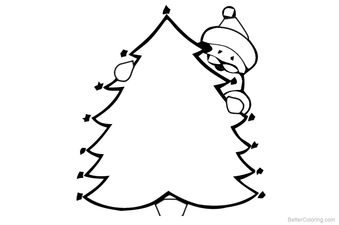 Christmas Tree Coloring Pages with Santa printable for free