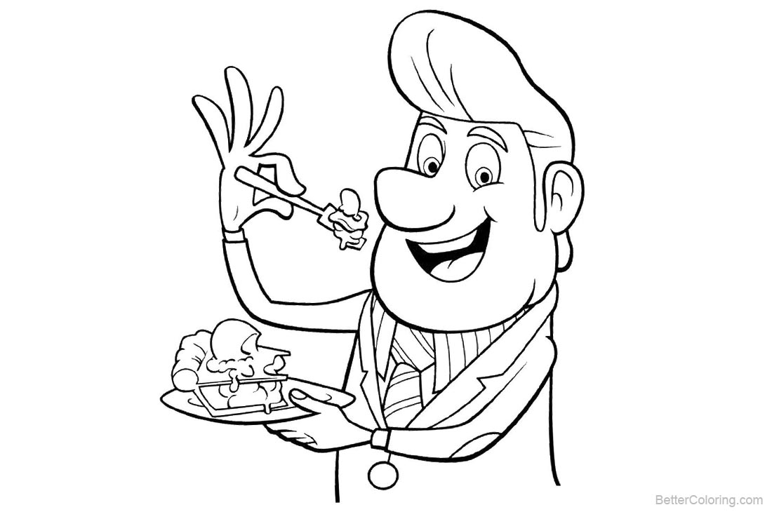 Cloudy with a Chance of Meatballs Coloring Pages Mayor printable for free