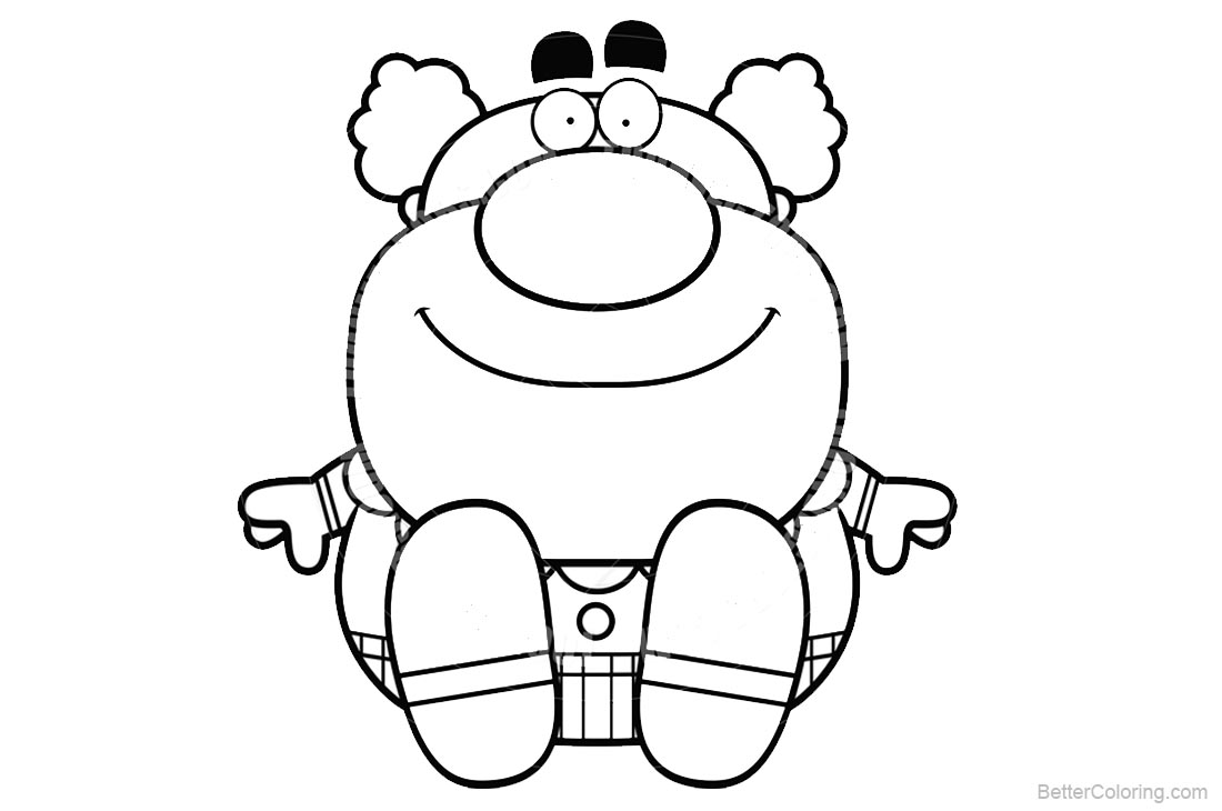Clown Coloring Pages Cartoon Style printable for free