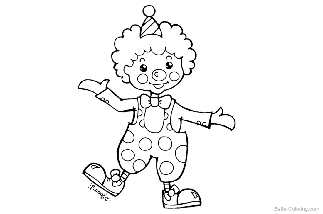 Clown Coloring Pages Clipart printable for free