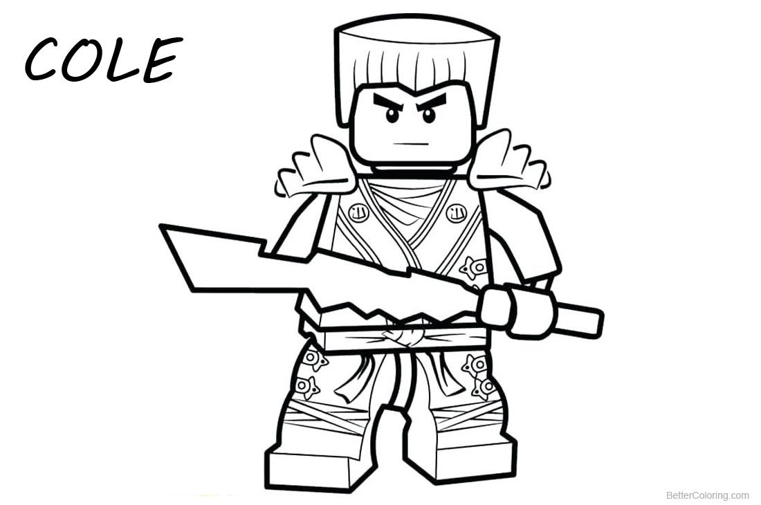 Cole from Lego Ninjago Coloring Pages Lineart printable for free