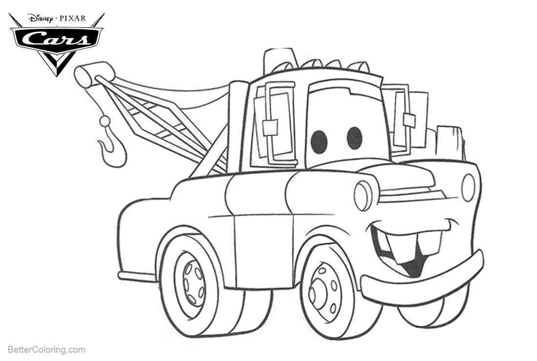 Disney cars coloring pages free ~ Coloring Pages of Cars Pixar Tow Mater - Free Printable ...