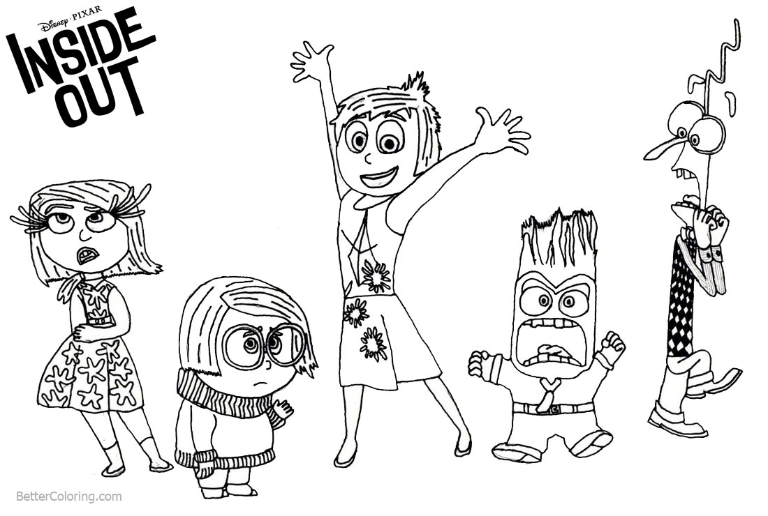 Coloring Pages of Disney Inside Out Characters printable for free