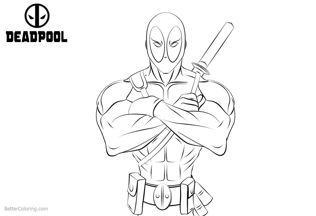 Cool Deadpool Coloring Pages printable for free
