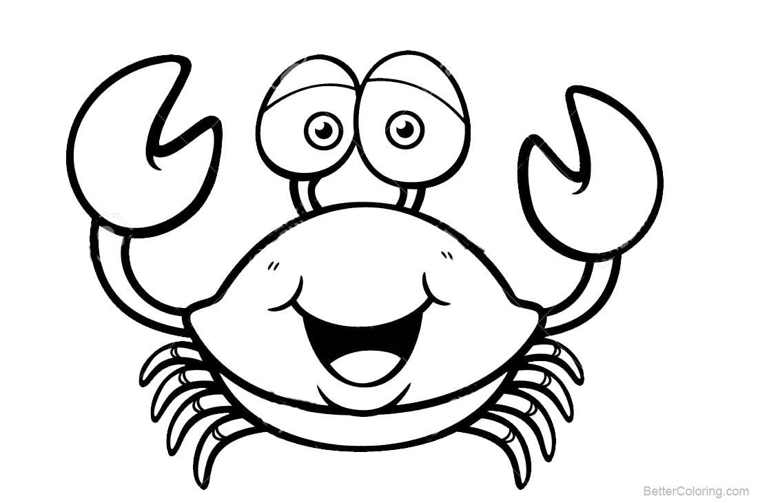 Crab Coloring Pages Lineart Free