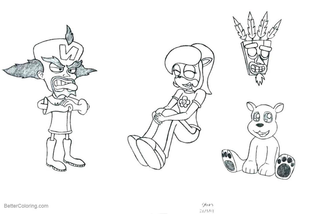 Free Crash Bandicoot Characters Coloring Pages printable