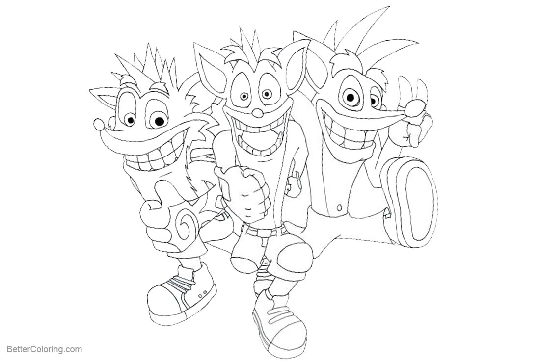 Free Crash Bandicoot Coloring Pages 3 in 1 printable