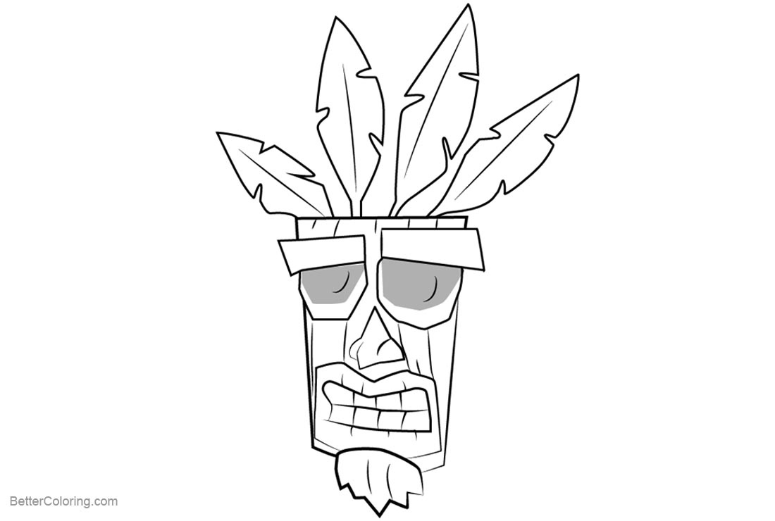 Crash bandicoot coloring pages aku aku free printable for Crash bandicoot coloring pages