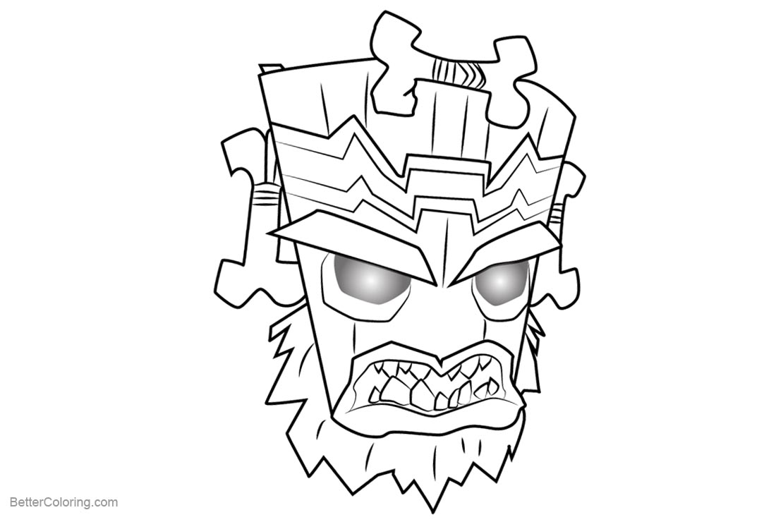 Free Crash Bandicoot Coloring Pages Uka Uka printable