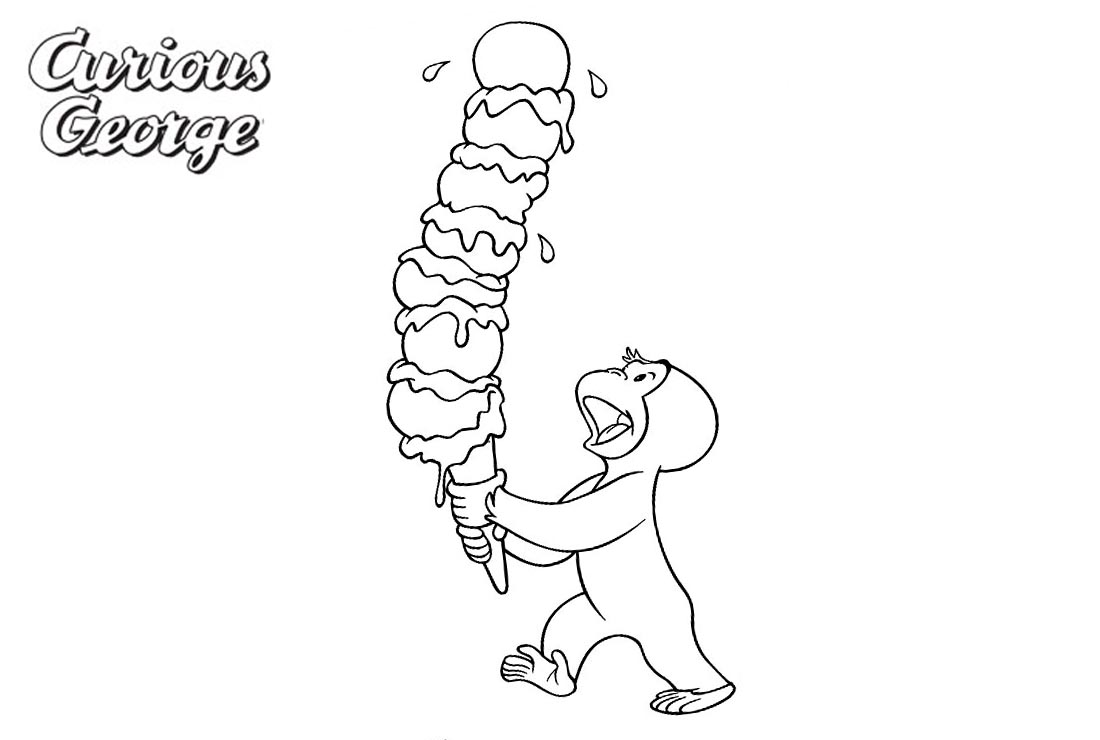 Curious George Coloring Pages Big Ice Cream printable for free