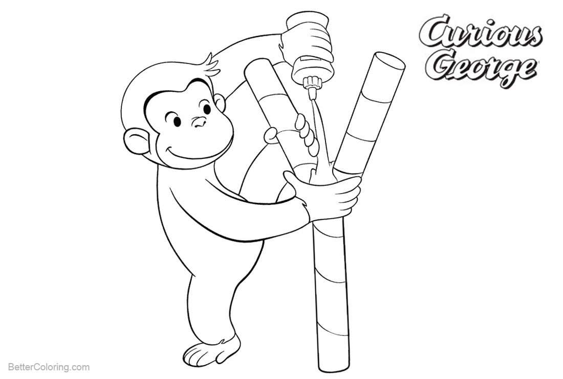 Curious George Coloring Pages Black and White printable for free