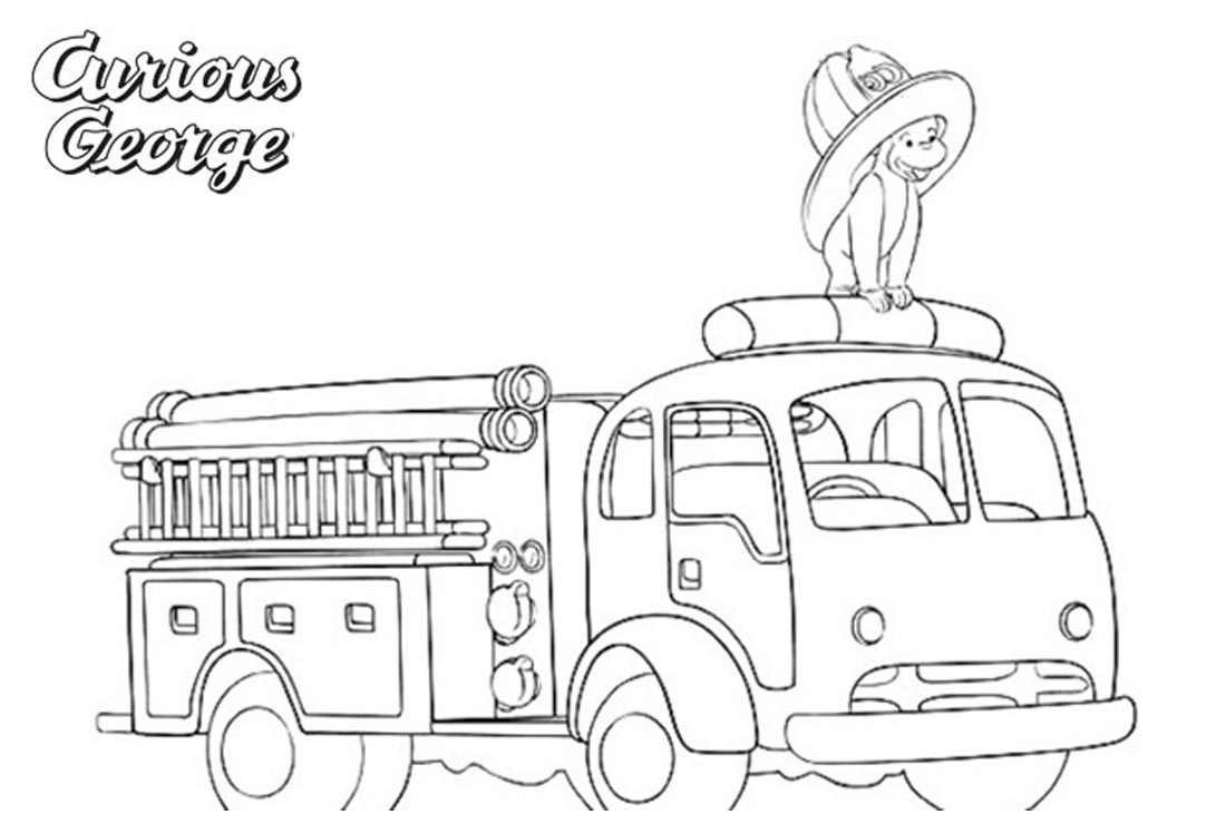 Curious George Coloring Pages Fire Engine - Free Printable Coloring ...