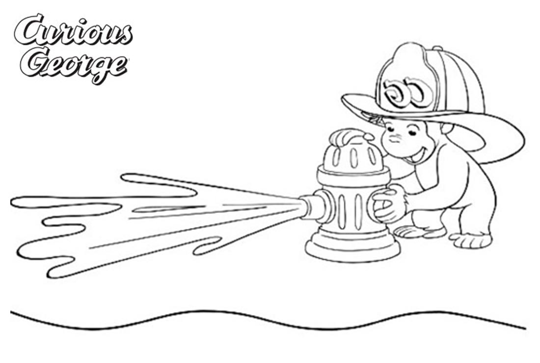 Curious George Coloring Pages Fireman printable for free