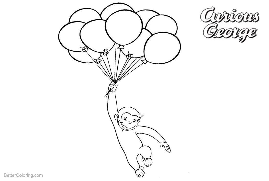 Curious George Coloring Pages Flying By Balloons Free Printable