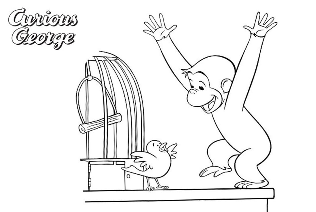 Curious George Coloring Pages George Find A Bird printable for free