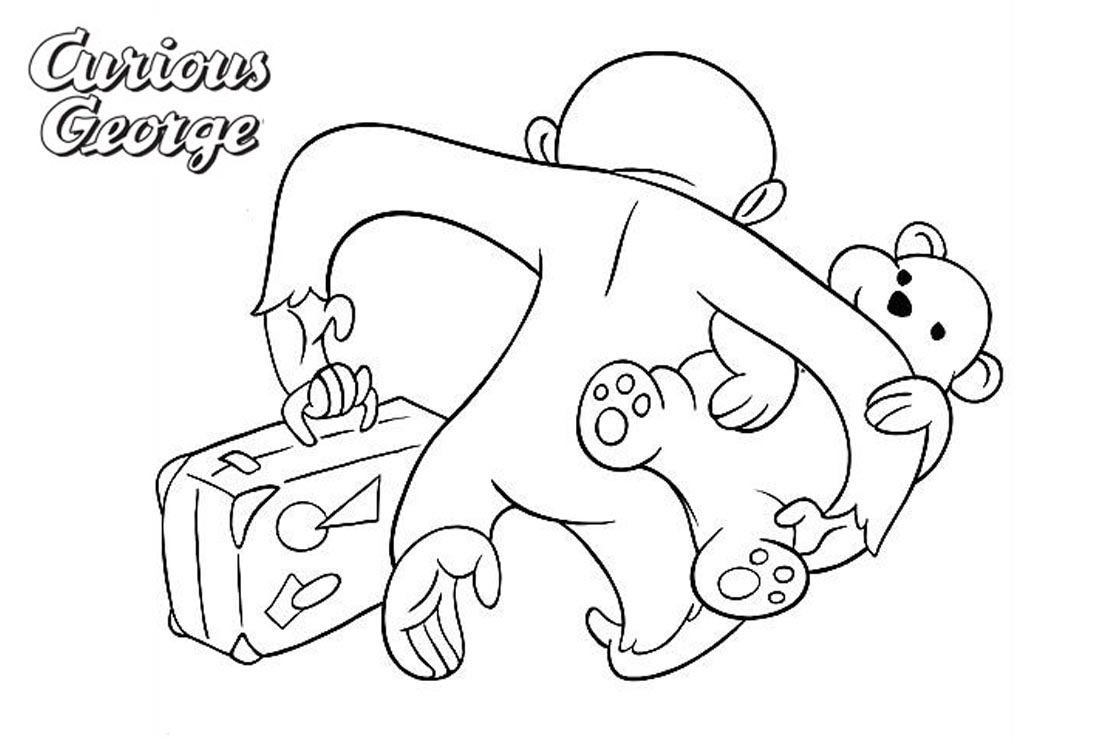 Curious George Coloring Pages Go with Luggage printable for free