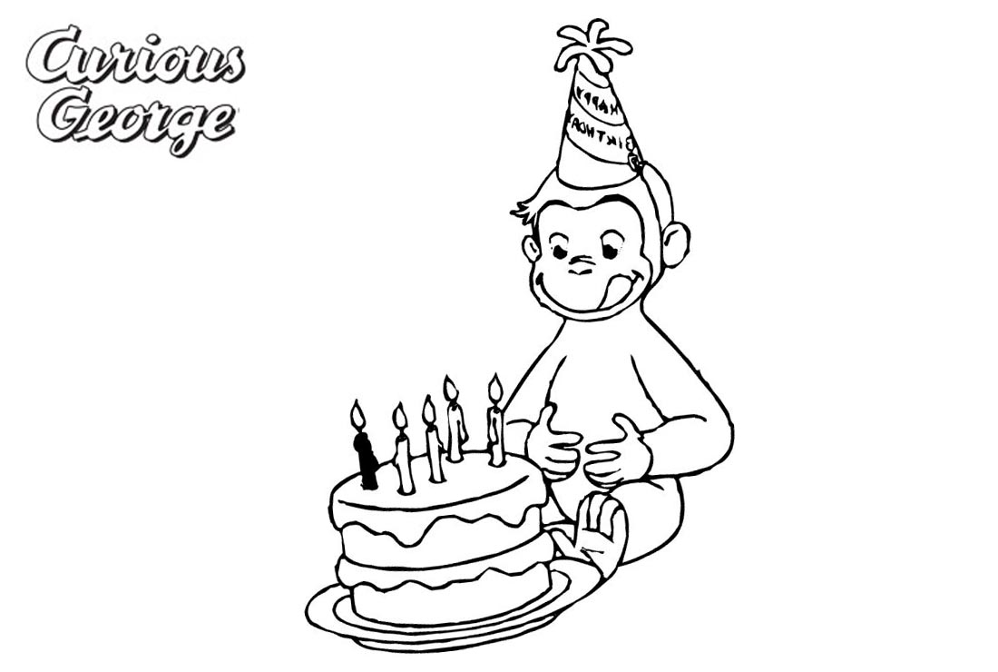 Curious George Coloring Pages Happy Birthday Free Printable