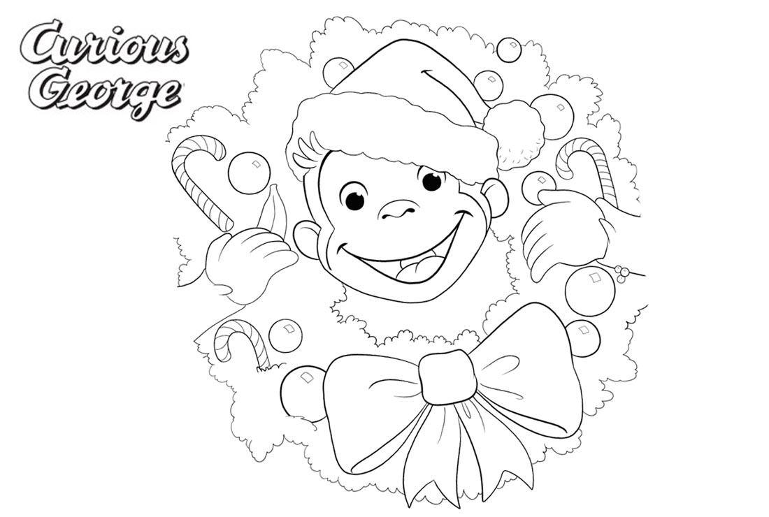 Curious George Coloring Pages Happy Christmas printable for free