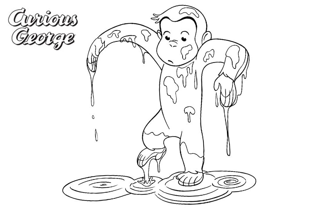 Curious George Coloring Pages His Body is Wet printable for free