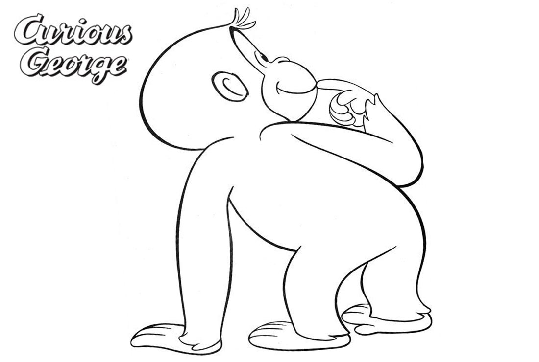 Curious George Coloring Pages Line Art printable for free