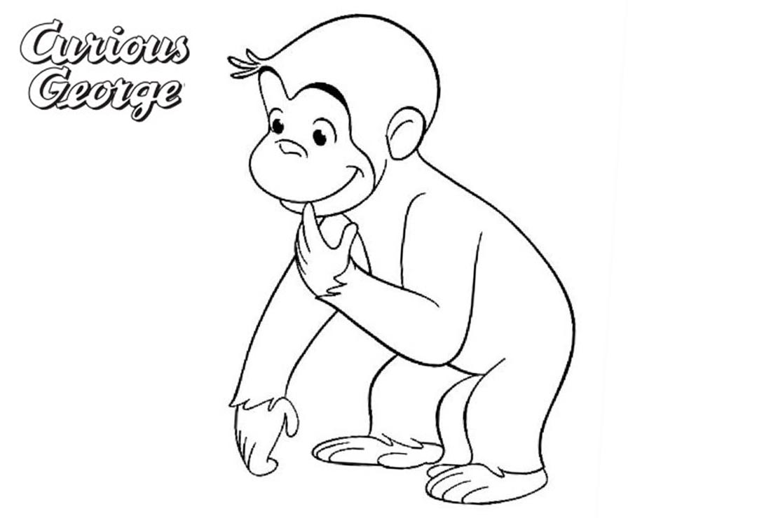 Curious George Coloring Pages Line Drawing printable for free