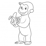 Curious George Coloring Pages Monkey Eating Banana